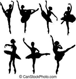 tänzer, silhouetten, ballett