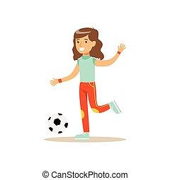 tätigkeiten, verschieden, üben, fußball, sport, kind, m�dchen, bildung, spielende , klasse, physisch