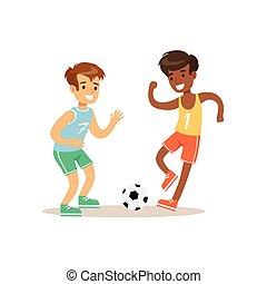 tätigkeiten, verschieden, üben, fußball, sport, knaben, kind, bildung, spielende , klasse, physisch