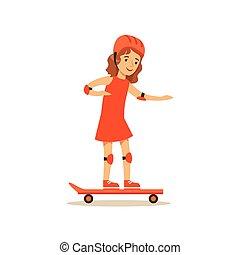 tätigkeiten, verschieden, üben, skateboardfahren, sport, kind, m�dchen, bildung, klasse, physisch