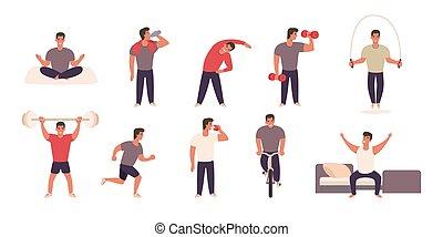 tätigkeiten, verschieden, üben, sport, physisch, mann