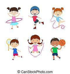 tätigkeiten, verschieden, kinder, üben, sports., outdoors., kinder, physisch