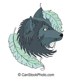 t�towierung, abbildung, hund, freigestellt, vektor, wolf, white., head., oder