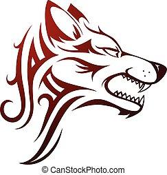 t�towierung, kopf, wolf