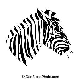 t�towierung, kopf, zebra