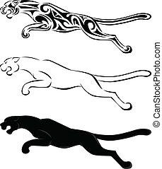 t�towierung, silhouette, kunst, jaguar