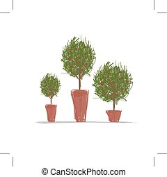 Töpfe mit grünem Baum für dein Design.