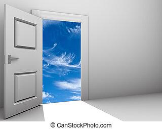 Tür für einen Himmel offen