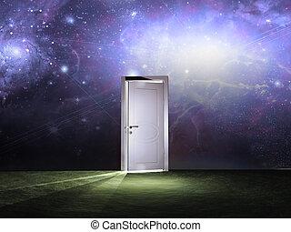 Tür vor dem kosmischen Himmel