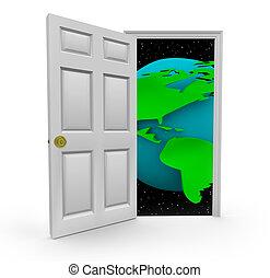 Tür zu einer Welt der Möglichkeiten