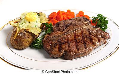 T-Bone-Steak horizontal von oben
