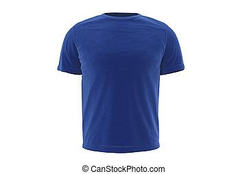 t-shirt, blaues, tragen, vorderansicht