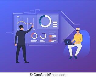 tabellen, analysieren, leute, schnittstelle, virtuell, finanziell