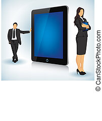 Tablet-Gerät mit Geschäftsleuten