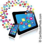 Tablet PC und Smartphone mit Apps