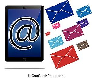 Tablet und E-Mail-Kommunikation.