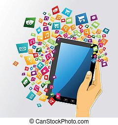 tablette, app, icons., hand, pc, menschliche , digital