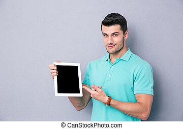 tablette, ausstellung, edv, leerer schirm, mann