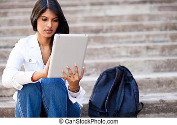 tablette, edv, student, draußen, gebrauchend