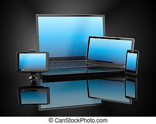 tablette, electronics., beweglich, laptop, pc, telefon, gps