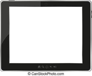 tablette, generisch, pc, schwarzer hintergrund, weißes
