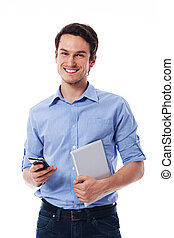 tablette, handy, besitz, digitaler mann, glücklich