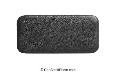 tablette, leder sack, edv, schwarzer hintergrund, weißes