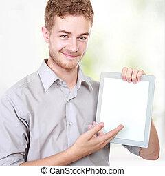 tablette pc, geschäftsmann, präsentieren, leer, gebrauchend, hübsch