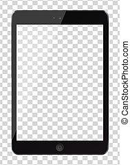 tablette pc, schirm, freigestellt, hintergrund., edv, leer, durchsichtig