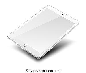 tablette pc, schirm, freigestellt, hintergrund., edv, leer, weißes