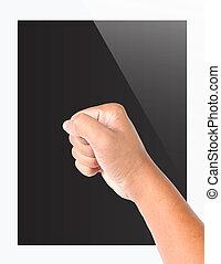 tablette pc, schirm, hand, realistisch, edv, leer