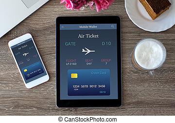 tablette pc, schirm, luft, telefon, edv, berühren, fahrschein