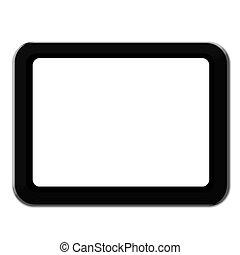 tablette, realistisch, schirm, freigestellt, pc computer, leer, weißes