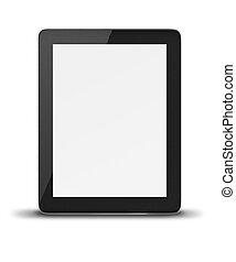 tablette, realistisch, screen., edv, pc, leer
