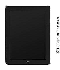 tablette, realistisch, screen., schwarz, edv, pc