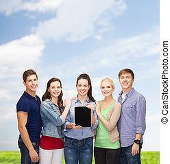 tablette, studenten, ausstellung, pc, leerer schirm