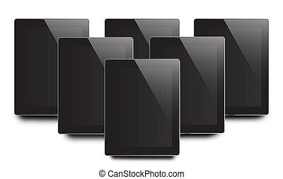 tablette, viele, schirm, freigestellt, pc computer, hintergrund, leer, weißes