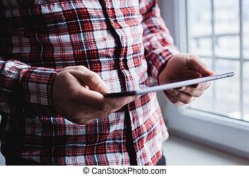 tablette, zubehörteil, modern, gebräuche, pc., hand., mann