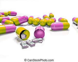 Tabletten von Banknoten, wie das Konzept bezahlt und teuer Medizin.