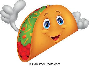 Taco Cartoon gibt den Daumen auf.