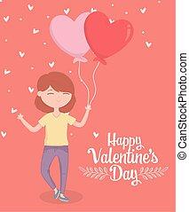 tag, karte, glücklich, form, herzen, valentines, liebe, frau, luftballone, junger