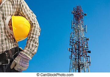 tag, telekommunikation, gegen, blaues, klar, gemalt, techniker, turm, rotes , sky., weißes