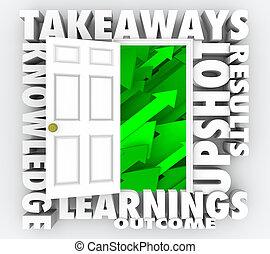 Takeaways Tür öffnen neue Informationen Wissen 3d Illustration.