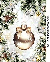 tanne, schneeflocken, fallender , zweige, weihnachtszierde