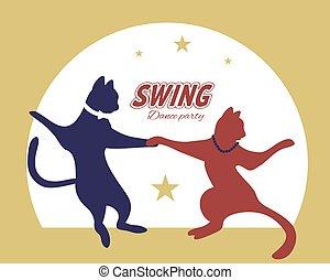 tanz, katzen, paar, schwingen, silhouette