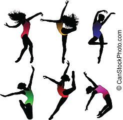 Tanz-Mädchen-Ballett-Silhouetten.