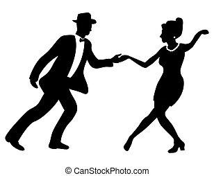 tanz, paar, schwingen, silhouette, negativ