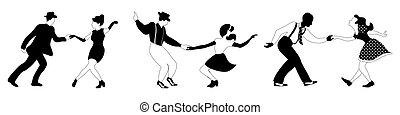 tanz, schwarz, schwingen, weißes, paare, drei