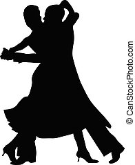 tanz, silhouette, paar, schwarz, tanzsaal
