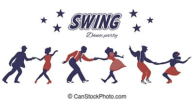 tanz, silhouetten, drei, paare, schwingen